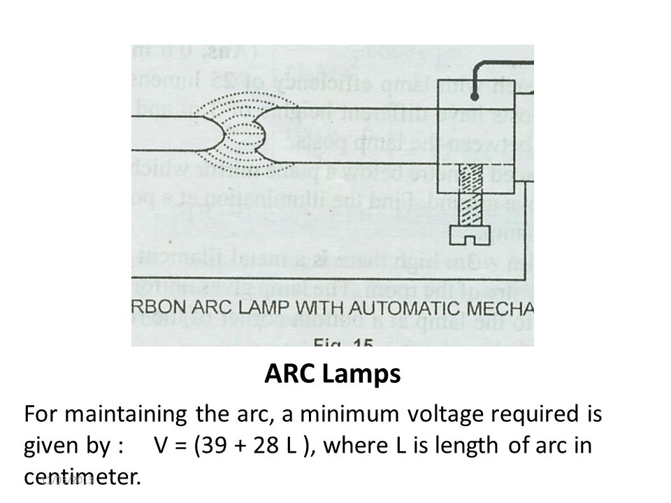 ARC Lamps For maintaining the arc, a minimum voltage required is given by : V = (39 + 28 L ), where L is length of arc in centimeter. 11/03/2013