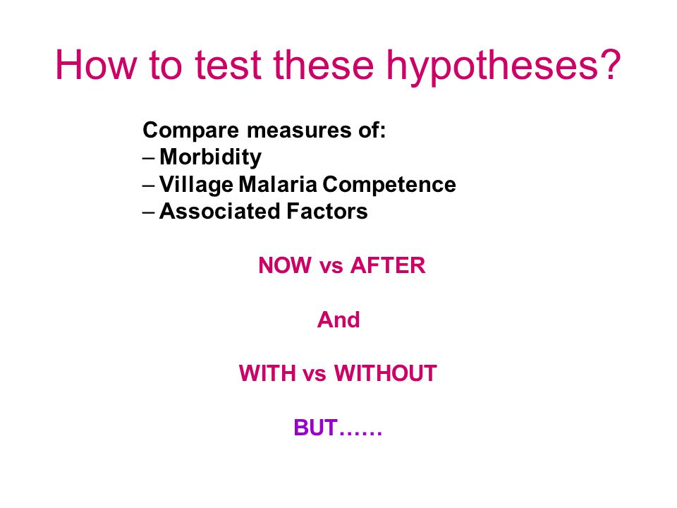 How to test these hypotheses.
