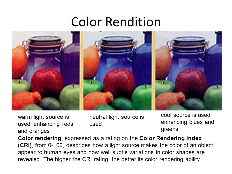 Color Rendition warm light source is used, enhancing reds and oranges neutral light source is used cool source is used enhancing blues and greens Colo