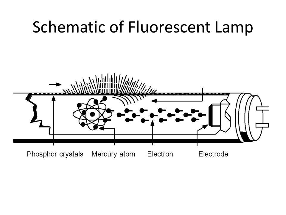 Schematic of Fluorescent Lamp Phosphor crystals Mercury atom ElectronElectrode