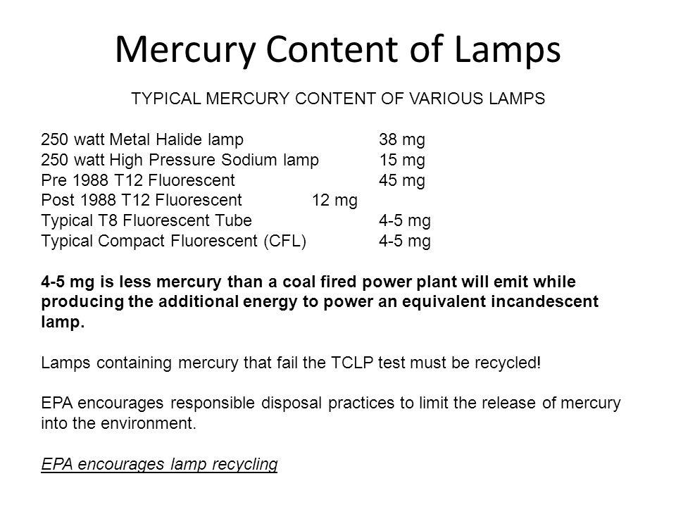 Mercury Content of Lamps TYPICAL MERCURY CONTENT OF VARIOUS LAMPS 250 watt Metal Halide lamp38 mg 250 watt High Pressure Sodium lamp15 mg Pre 1988 T12