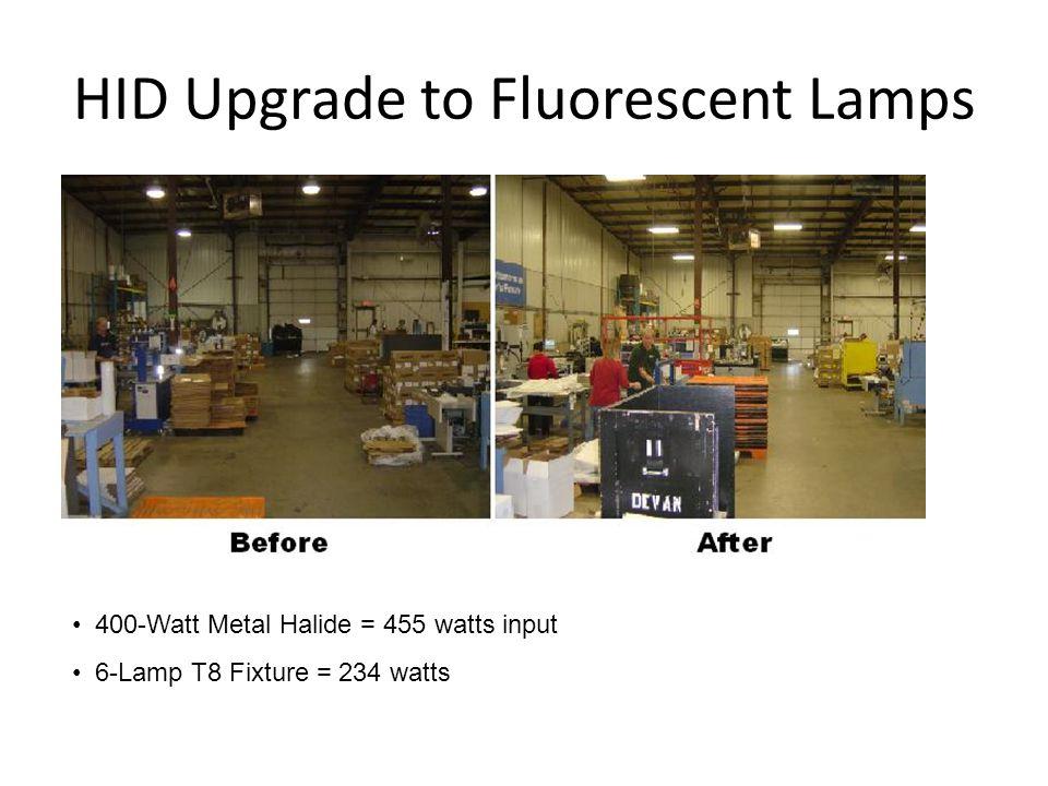 HID Upgrade to Fluorescent Lamps 400-Watt Metal Halide = 455 watts input 6-Lamp T8 Fixture = 234 watts