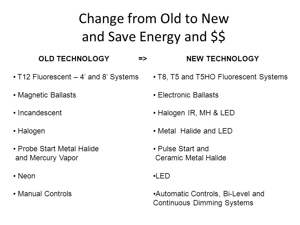 Change from Old to New and Save Energy and $$ OLD TECHNOLOGY => T12 Fluorescent – 4 and 8 Systems Magnetic Ballasts Incandescent Halogen Probe Start Metal Halide and Mercury Vapor Neon Manual Controls NEW TECHNOLOGY T8, T5 and T5HO Fluorescent Systems Electronic Ballasts Halogen IR, MH & LED Metal Halide and LED Pulse Start and Ceramic Metal Halide LED Automatic Controls, Bi-Level and Continuous Dimming Systems