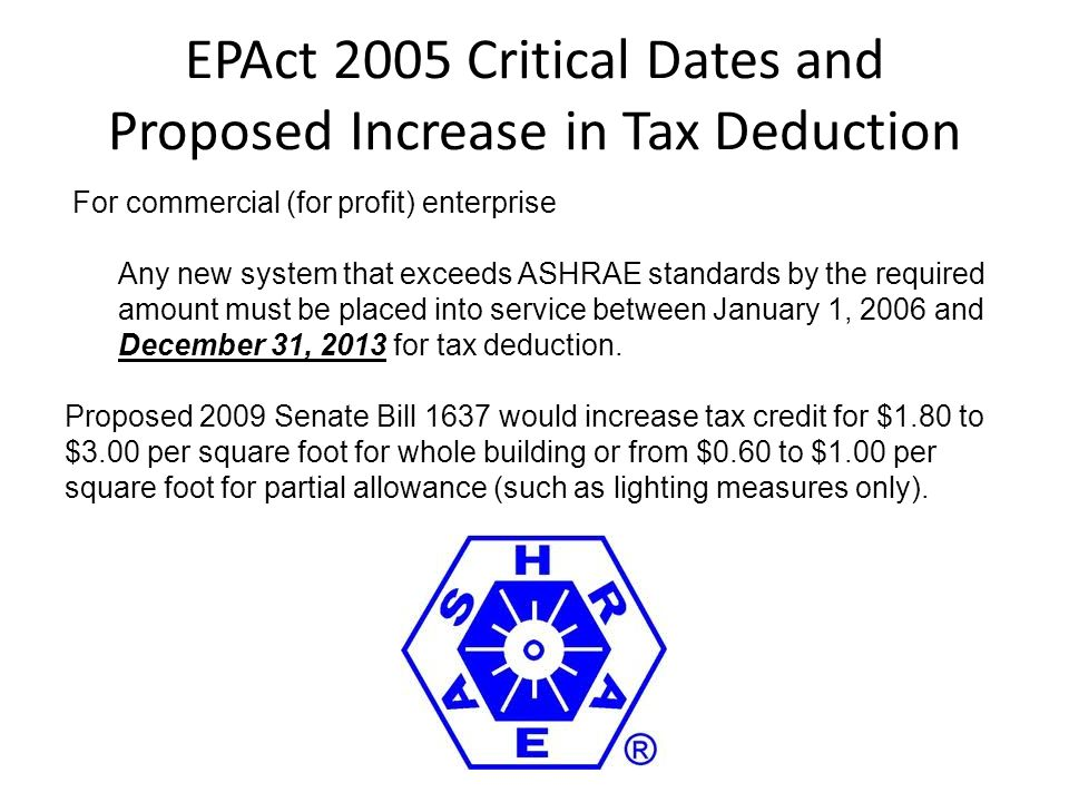 EPAct 2005 Critical Dates and Proposed Increase in Tax Deduction For commercial (for profit) enterprise Any new system that exceeds ASHRAE standards b