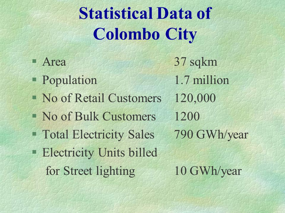 Statistical Data of Colombo City §Area37 sqkm §Population 1.7 million §No of Retail Customers120,000 §No of Bulk Customers 1200 §Total Electricity Sal
