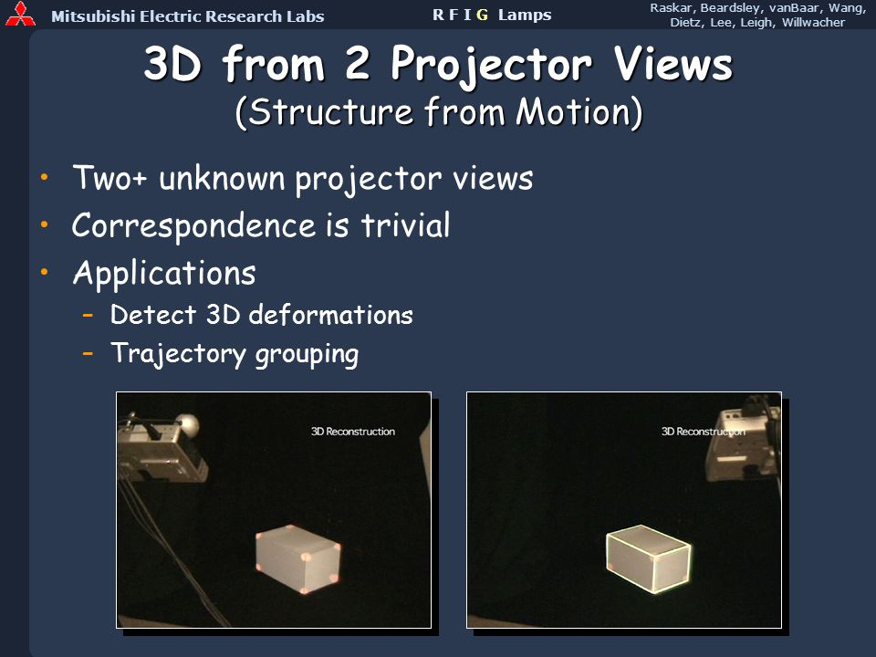 Mitsubishi Electric Research Labs Raskar, Beardsley, vanBaar, Wang, Dietz, Lee, Leigh, Willwacher R F I G Lamps 3D from 2 Projector Views (Structure from Motion) Two+ unknown projector views Correspondence is trivial Applications –Detect 3D deformations –Trajectory grouping