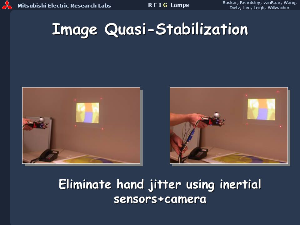 Mitsubishi Electric Research Labs Raskar, Beardsley, vanBaar, Wang, Dietz, Lee, Leigh, Willwacher R F I G Lamps Image Quasi-Stabilization Eliminate hand jitter using inertial sensors+camera