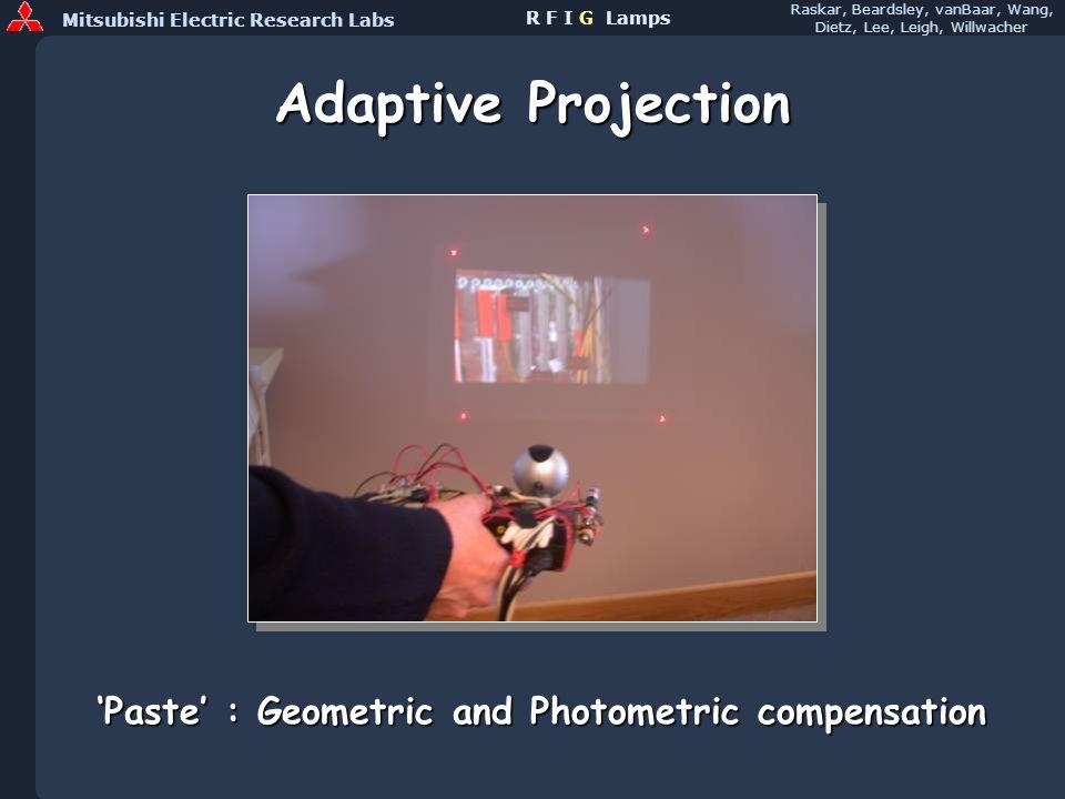 Mitsubishi Electric Research Labs Raskar, Beardsley, vanBaar, Wang, Dietz, Lee, Leigh, Willwacher R F I G Lamps Adaptive Projection Paste : Geometric