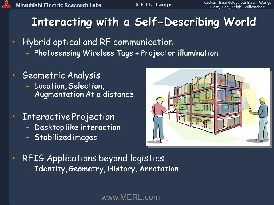 Mitsubishi Electric Research Labs Raskar, Beardsley, vanBaar, Wang, Dietz, Lee, Leigh, Willwacher R F I G Lamps Interacting with a Self-Describing World Hybrid optical and RF communication –Photosensing Wireless Tags + Projector illumination Geometric Analysis –Location, Selection, Augmentation At a distance Interactive Projection –Desktop like interaction –Stabilized images RFIG Applications beyond logistics –Identity, Geometry, History, Annotation www.MERL.com