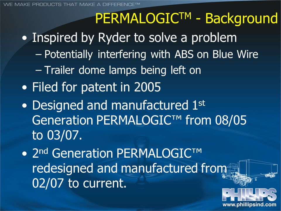 PERMALOGIC TM - Background Inspired by Ryder to solve a problem –Potentially interfering with ABS on Blue Wire –Trailer dome lamps being left on Filed