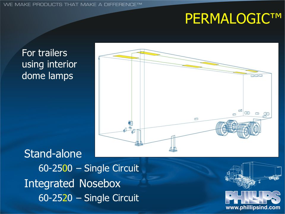 PERMALOGIC For trailers using interior dome lamps Stand-alone 60-2500 – Single Circuit Integrated Nosebox 60-2520 – Single Circuit