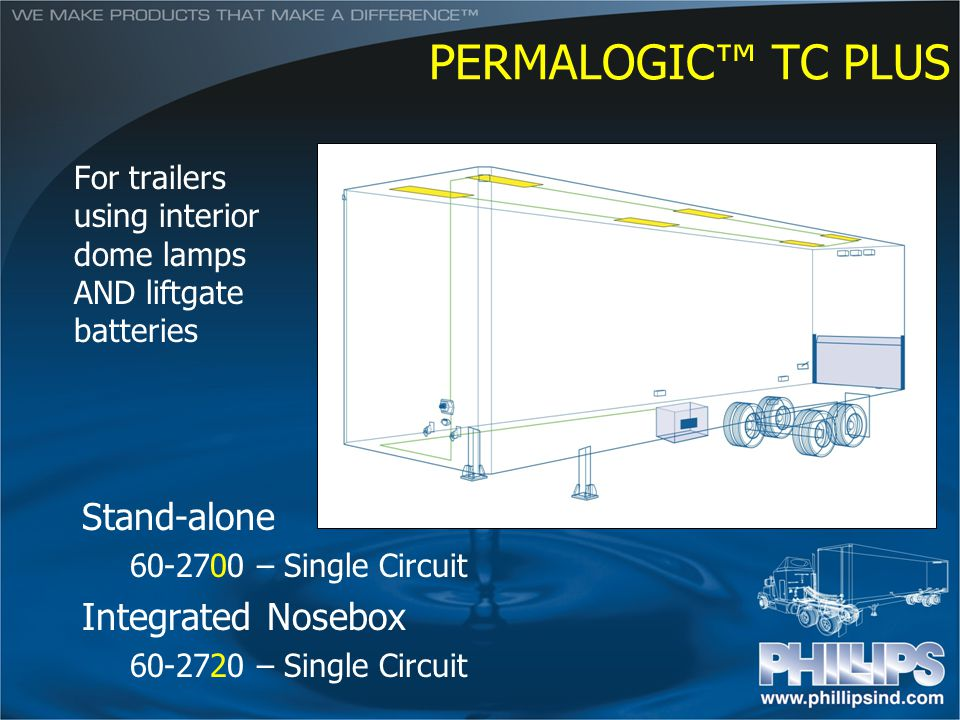 PERMALOGIC TC PLUS Stand-alone 60-2700 – Single Circuit Integrated Nosebox 60-2720 – Single Circuit For trailers using interior dome lamps AND liftgat