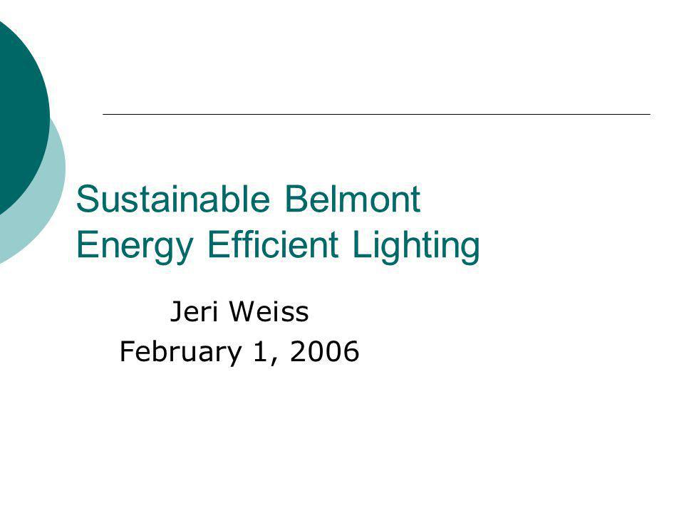 Sustainable Belmont Energy Efficient Lighting Jeri Weiss February 1, 2006