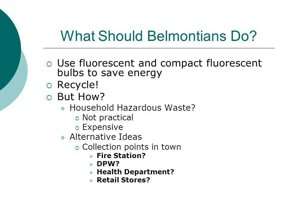 What Should Belmontians Do. Use fluorescent and compact fluorescent bulbs to save energy Recycle.