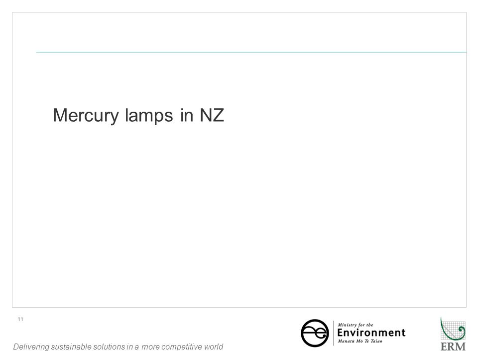 Delivering sustainable solutions in a more competitive world 11 Mercury lamps in NZ