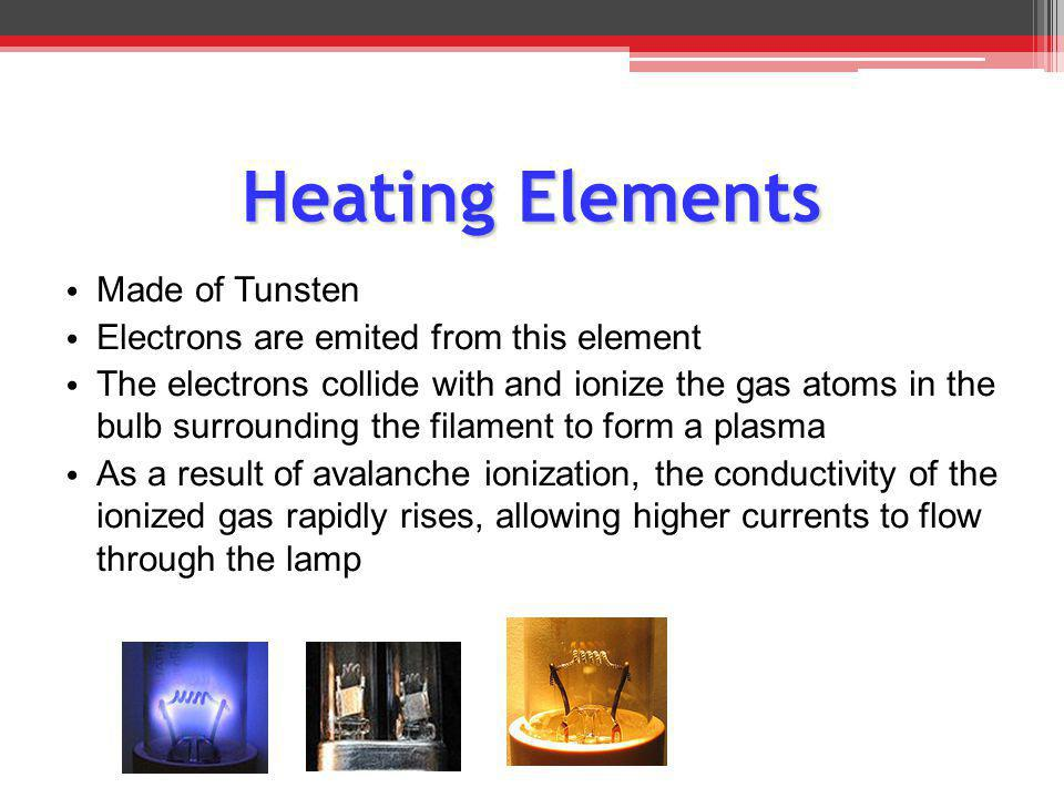 Heating Elements M ade of Tunsten E lectrons are emited from this element T he electrons collide with and ionize the gas atoms in the bulb surrounding