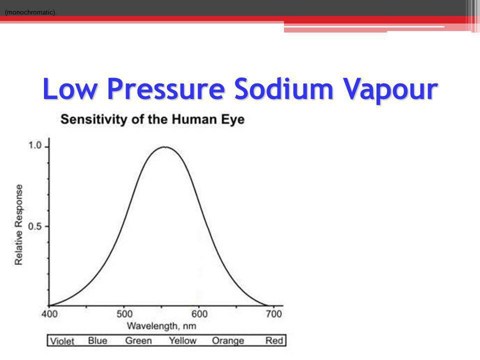 Low Pressure Sodium Vapour (monochromatic).
