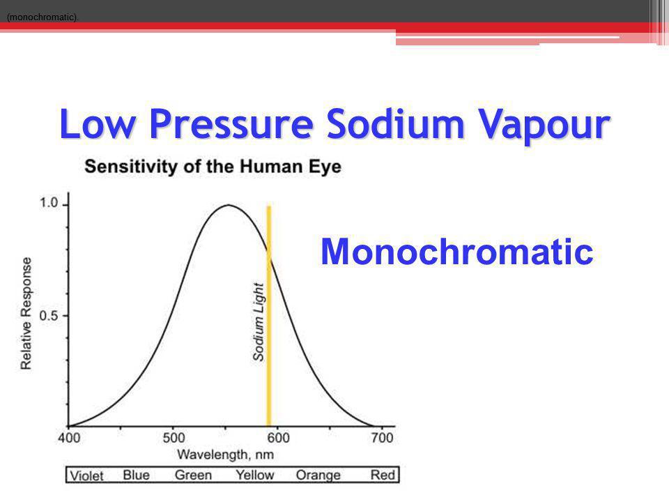 Low Pressure Sodium Vapour (monochromatic). Monochromatic