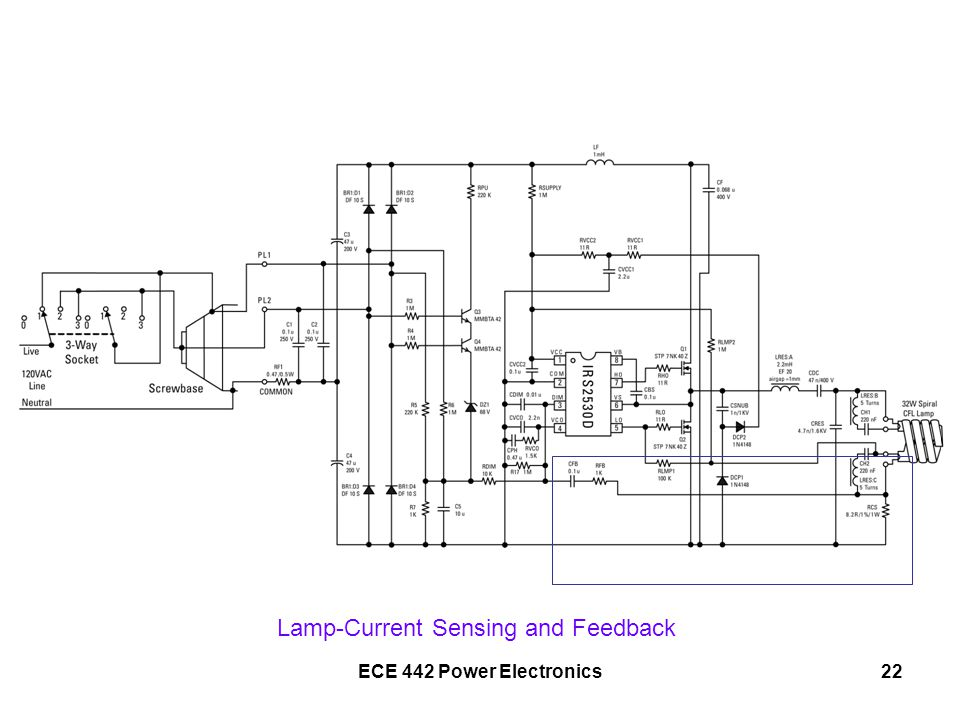 ECE 442 Power Electronics22 Lamp-Current Sensing and Feedback