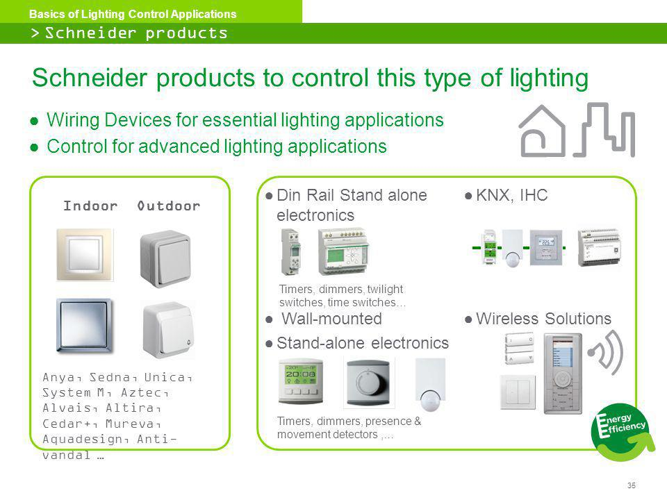 35 Basics of Lighting Control Applications Wiring Devices for essential lighting applications Control for advanced lighting applications Schneider pro