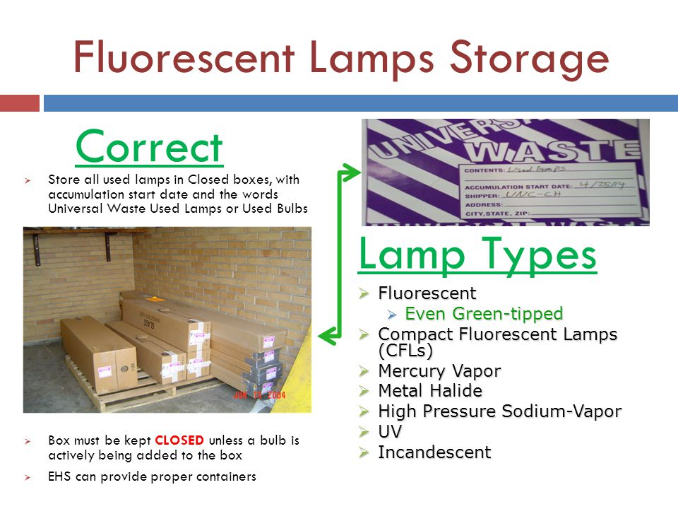Fluorescent Lamps Storage Store all used lamps in Closed boxes, with accumulation start date and the words Universal Waste Used Lamps or Used Bulbs Bo