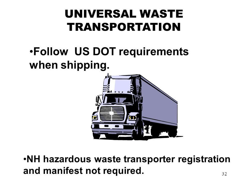 32 Follow US DOT requirements when shipping.