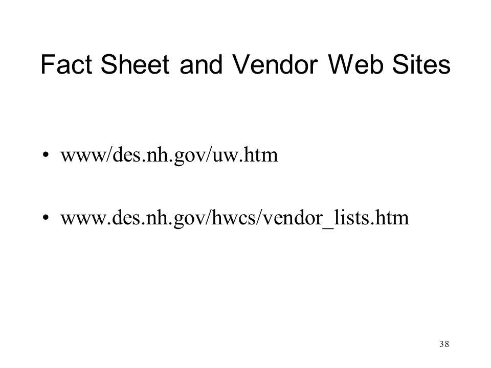 38 Fact Sheet and Vendor Web Sites www/des.nh.gov/uw.htm www.des.nh.gov/hwcs/vendor_lists.htm