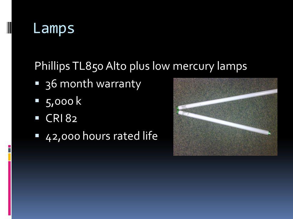 Lamps Phillips TL850 Alto plus low mercury lamps 36 month warranty 5,000 k CRI 82 42,000 hours rated life