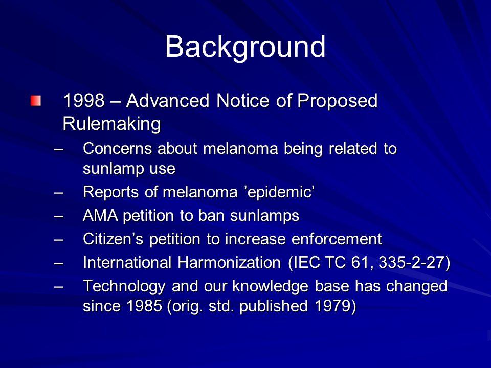Background 1998 – Advanced Notice of Proposed Rulemaking –Concerns about melanoma being related to sunlamp use –Reports of melanoma epidemic –AMA peti