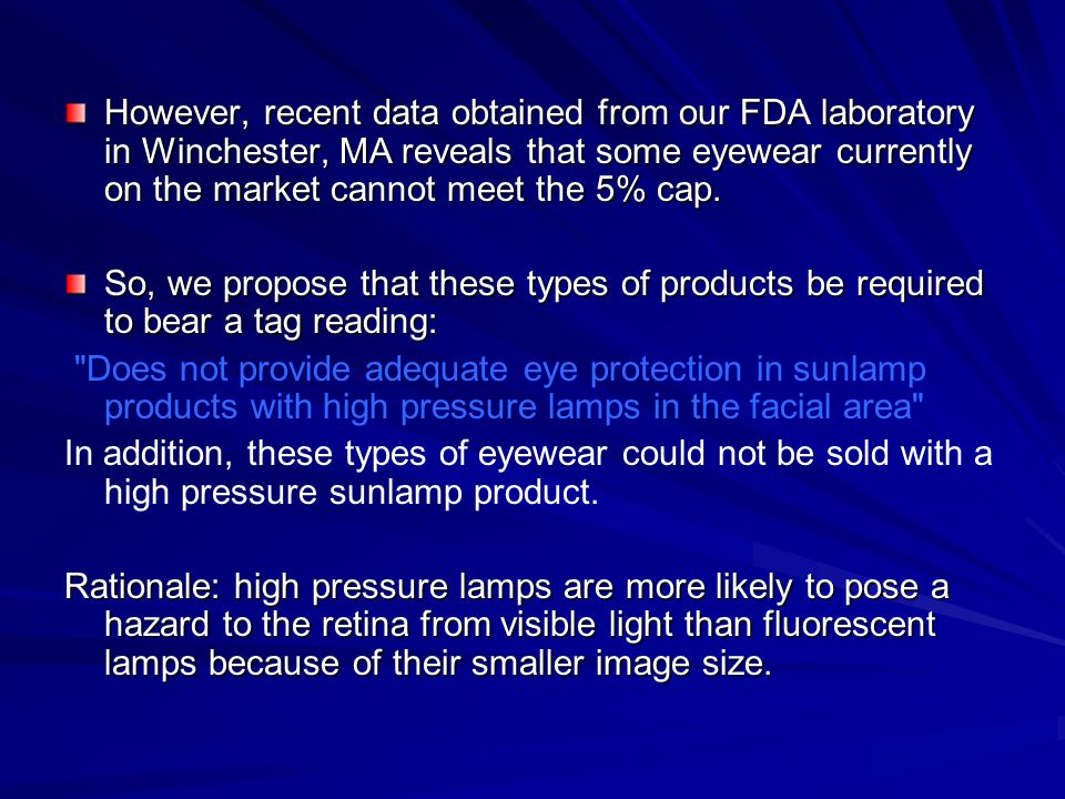 However, recent data obtained from our FDA laboratory in Winchester, MA reveals that some eyewear currently on the market cannot meet the 5% cap. So,