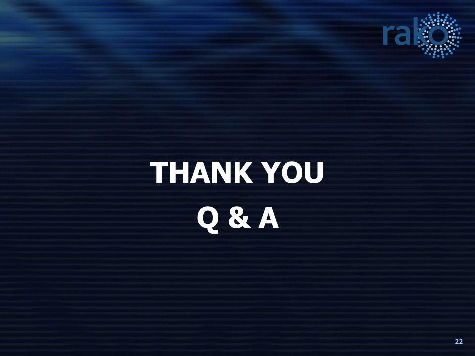 22 THANK YOU Q & A