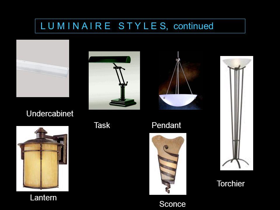 L U M I N A I R E S T Y L E S, continued PendantTask Undercabinet Torchier Lantern Sconce