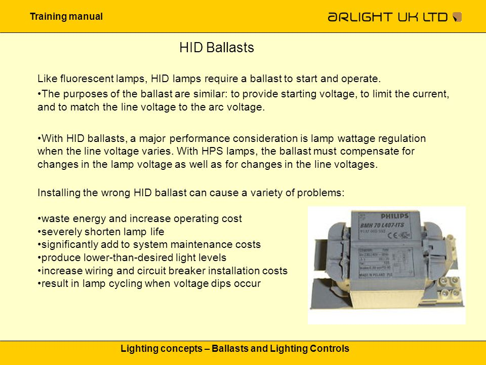 Training manual Lighting concepts – Ballasts and Lighting Controls HID Ballasts Like fluorescent lamps, HID lamps require a ballast to start and opera