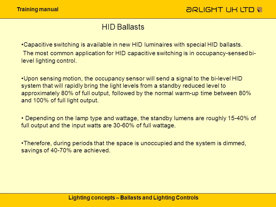 Training manual Lighting concepts – Ballasts and Lighting Controls HID Ballasts Capacitive switching is available in new HID luminaires with special H