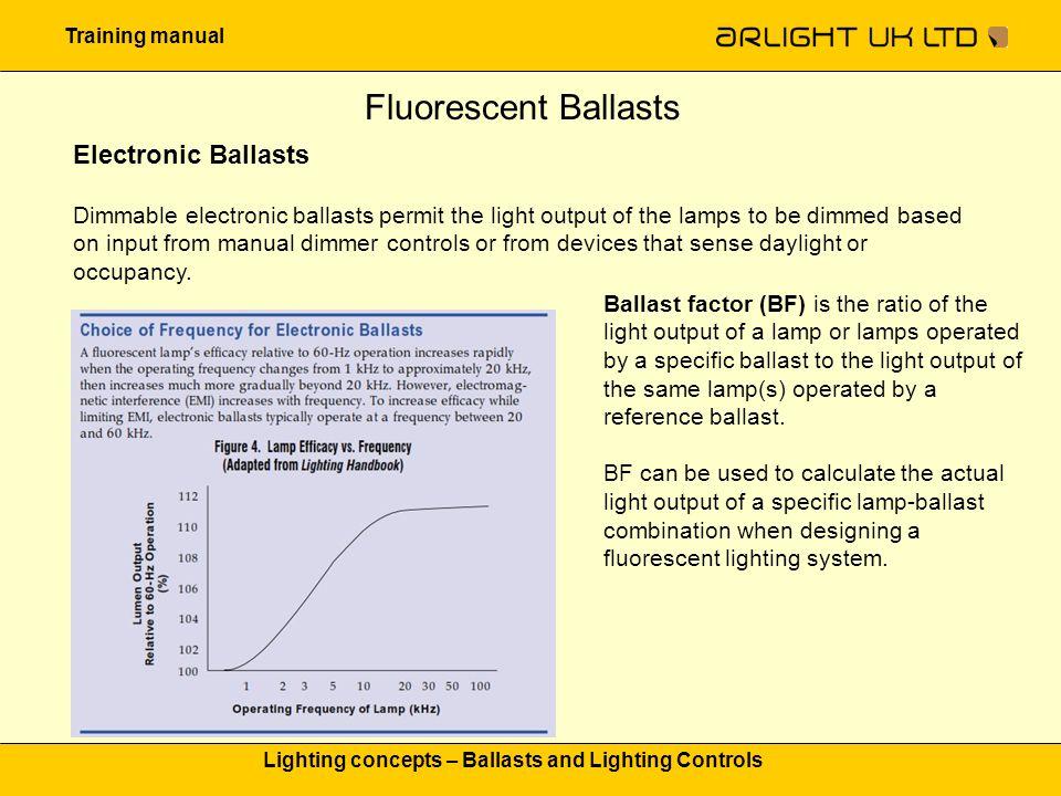 Training manual Lighting concepts – Ballasts and Lighting Controls Fluorescent Ballasts Electronic Ballasts Dimmable electronic ballasts permit the li