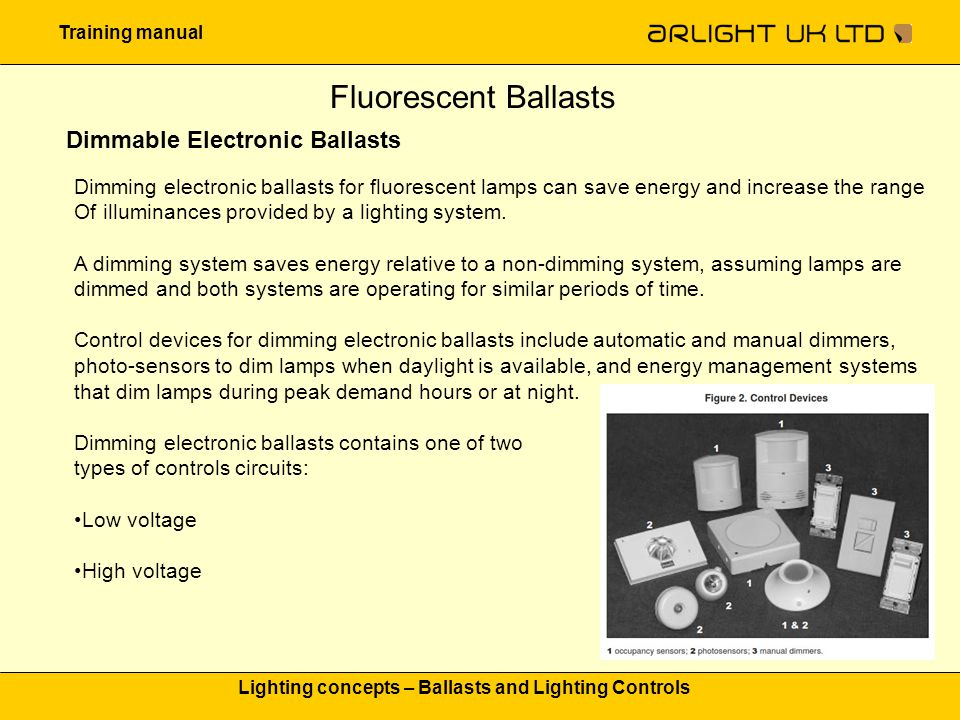 Training manual Lighting concepts – Ballasts and Lighting Controls Fluorescent Ballasts Dimmable Electronic Ballasts Dimming electronic ballasts for f