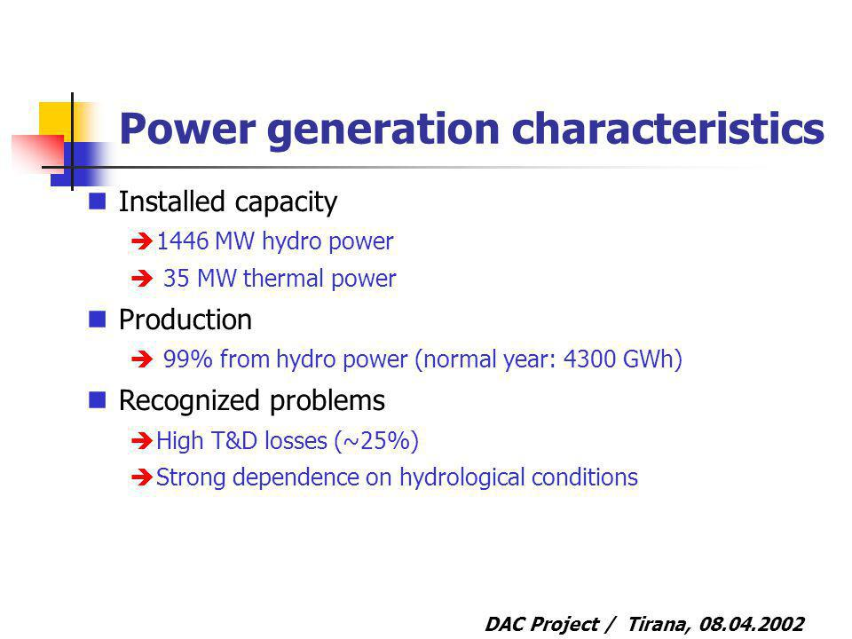 DAC Project / Tirana, 08.04.2002 Power generation characteristics Installed capacity 1446 MW hydro power 35 MW thermal power Production 99% from hydro power (normal year: 4300 GWh) Recognized problems High T&D losses (~25%) Strong dependence on hydrological conditions