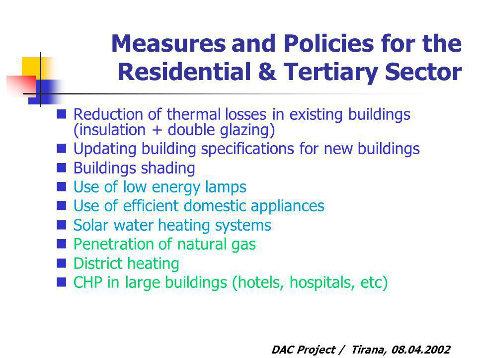 DAC Project / Tirana, 08.04.2002 Measures and Policies for the Residential & Tertiary Sector Reduction of thermal losses in existing buildings (insulation + double glazing) Updating building specifications for new buildings Buildings shading Use of low energy lamps Use of efficient domestic appliances Solar water heating systems Penetration of natural gas District heating CHP in large buildings (hotels, hospitals, etc)
