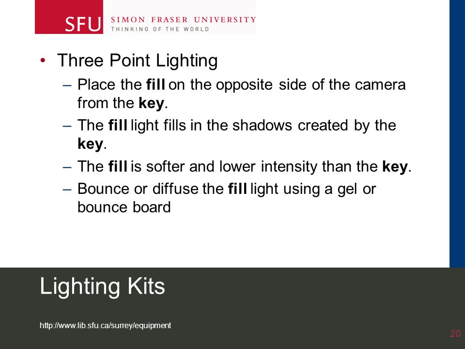 http://www.lib.sfu.ca/surrey/equipment 20 Lighting Kits Three Point Lighting –Place the fill on the opposite side of the camera from the key.