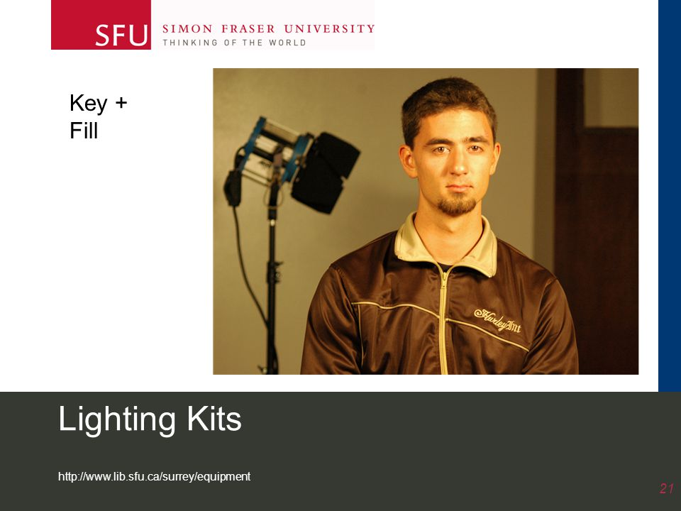 http://www.lib.sfu.ca/surrey/equipment 21 Lighting Kits Key + Fill