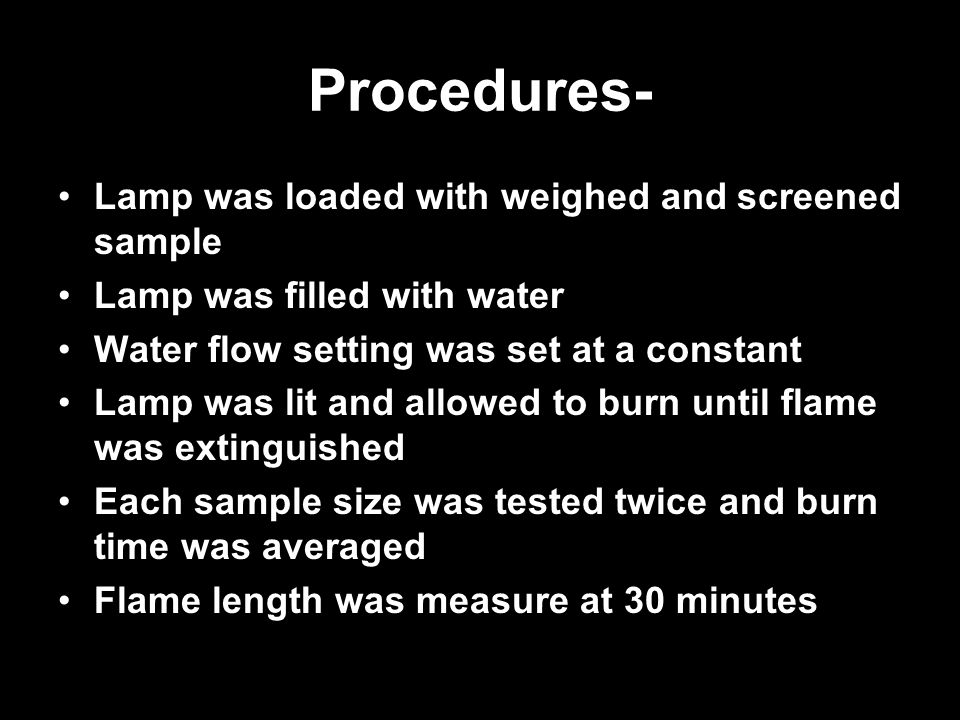 Procedures- Lamp was loaded with weighed and screened sample Lamp was filled with water Water flow setting was set at a constant Lamp was lit and allo