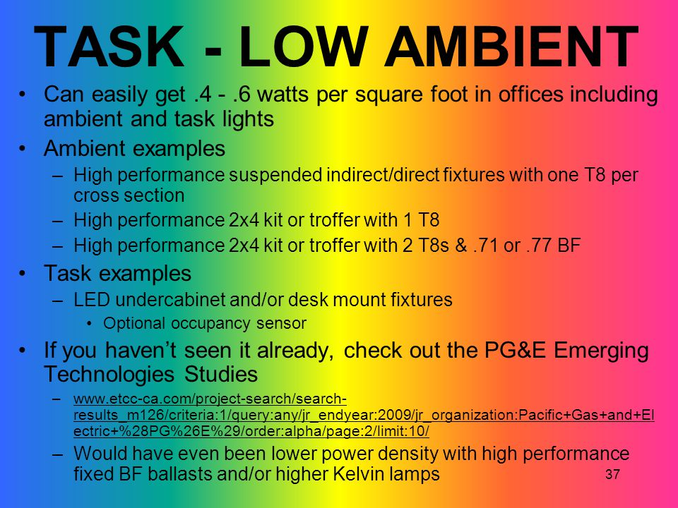 37 TASK - LOW AMBIENT Can easily get.4 -.6 watts per square foot in offices including ambient and task lights Ambient examples –High performance suspe