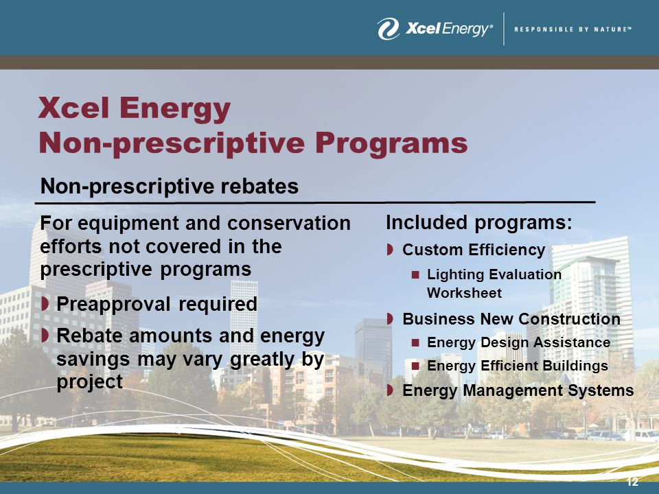 12 Xcel Energy Non-prescriptive Programs Non-prescriptive rebates For equipment and conservation efforts not covered in the prescriptive programs Preapproval required Rebate amounts and energy savings may vary greatly by project Included programs: Custom Efficiency Lighting Evaluation Worksheet Business New Construction Energy Design Assistance Energy Efficient Buildings Energy Management Systems