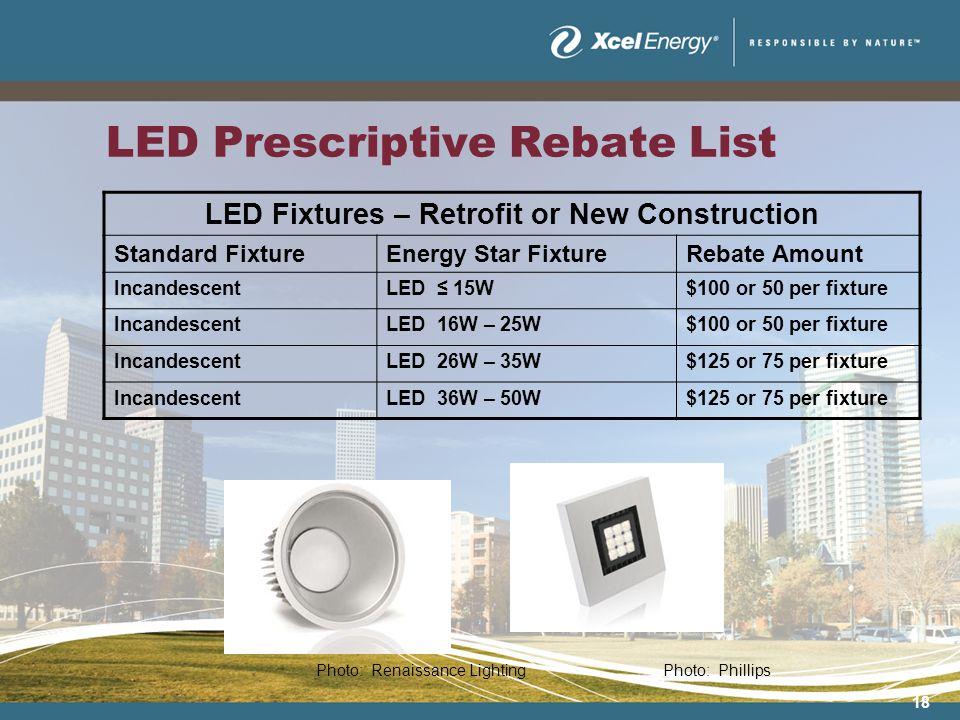 18 LED Prescriptive Rebate List LED Fixtures – Retrofit or New Construction Standard FixtureEnergy Star FixtureRebate Amount IncandescentLED 15W$100 or 50 per fixture IncandescentLED 16W – 25W$100 or 50 per fixture IncandescentLED 26W – 35W$125 or 75 per fixture IncandescentLED 36W – 50W$125 or 75 per fixture Photo: Renaissance LightingPhoto: Phillips
