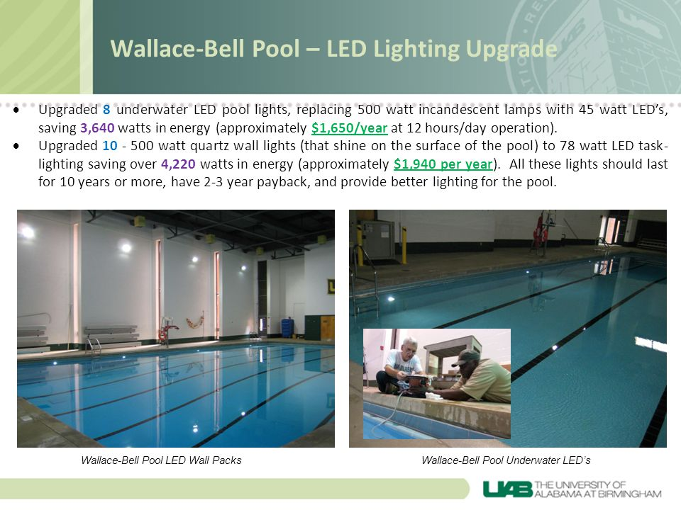 Rast Hall – Exterior LED Up-Lighting and Water Bottle Filling Station Exterior LED Up-lighting – Installed 14 exterior LED up-lights.