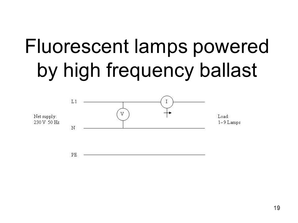 19 Fluorescent lamps powered by high frequency ballast