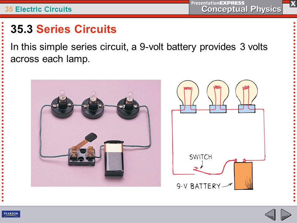 35 Electric Circuits In this simple series circuit, a 9-volt battery provides 3 volts across each lamp. 35.3 Series Circuits