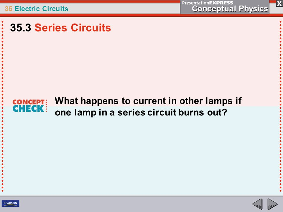 35 Electric Circuits What happens to current in other lamps if one lamp in a series circuit burns out? 35.3 Series Circuits