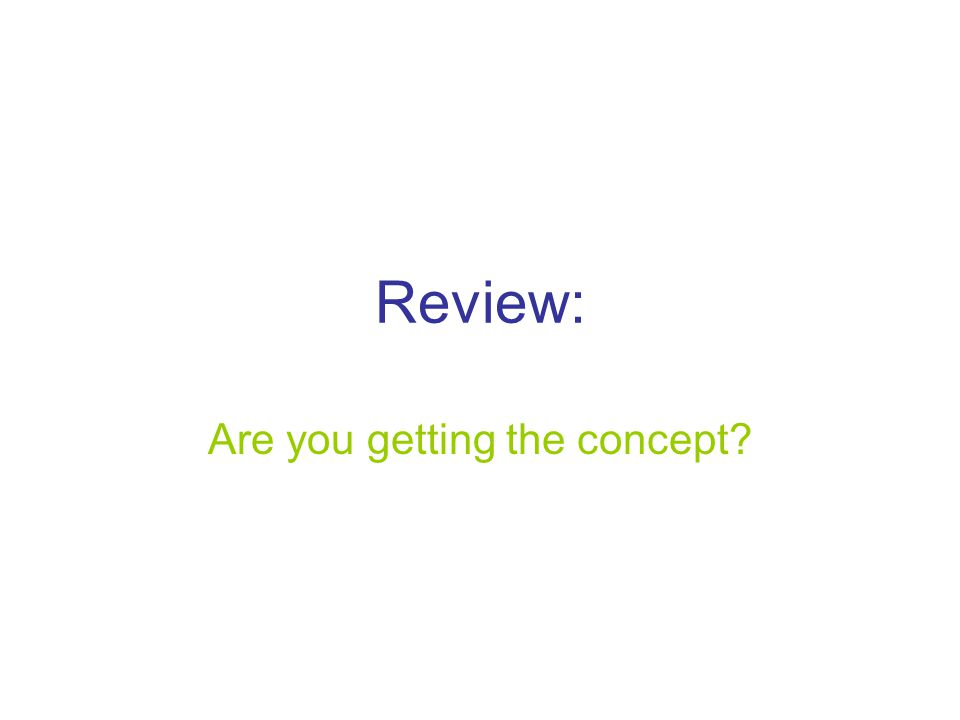 Review: Are you getting the concept