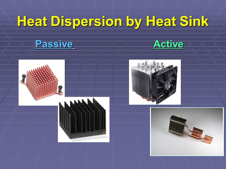 Heat Dispersion by Heat Sink Passive Active